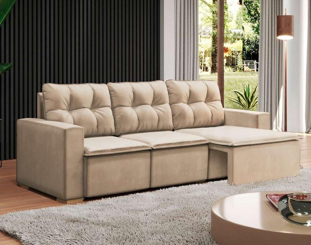 sofá suede bege