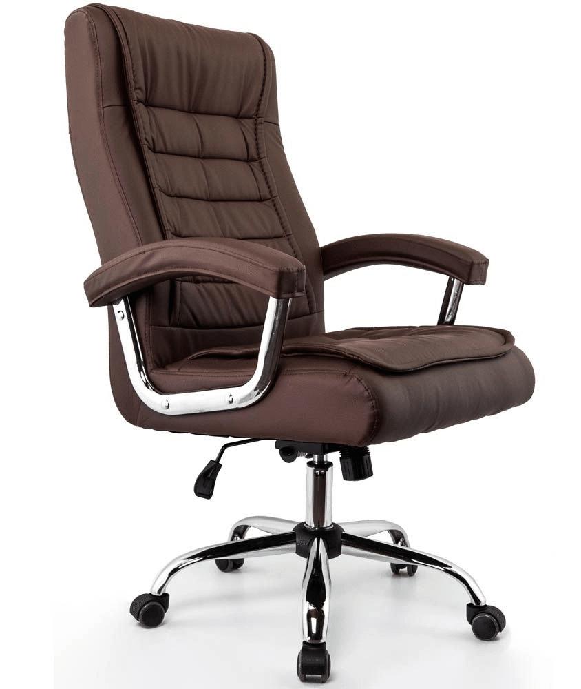 cadeira de escritório de couro marrom