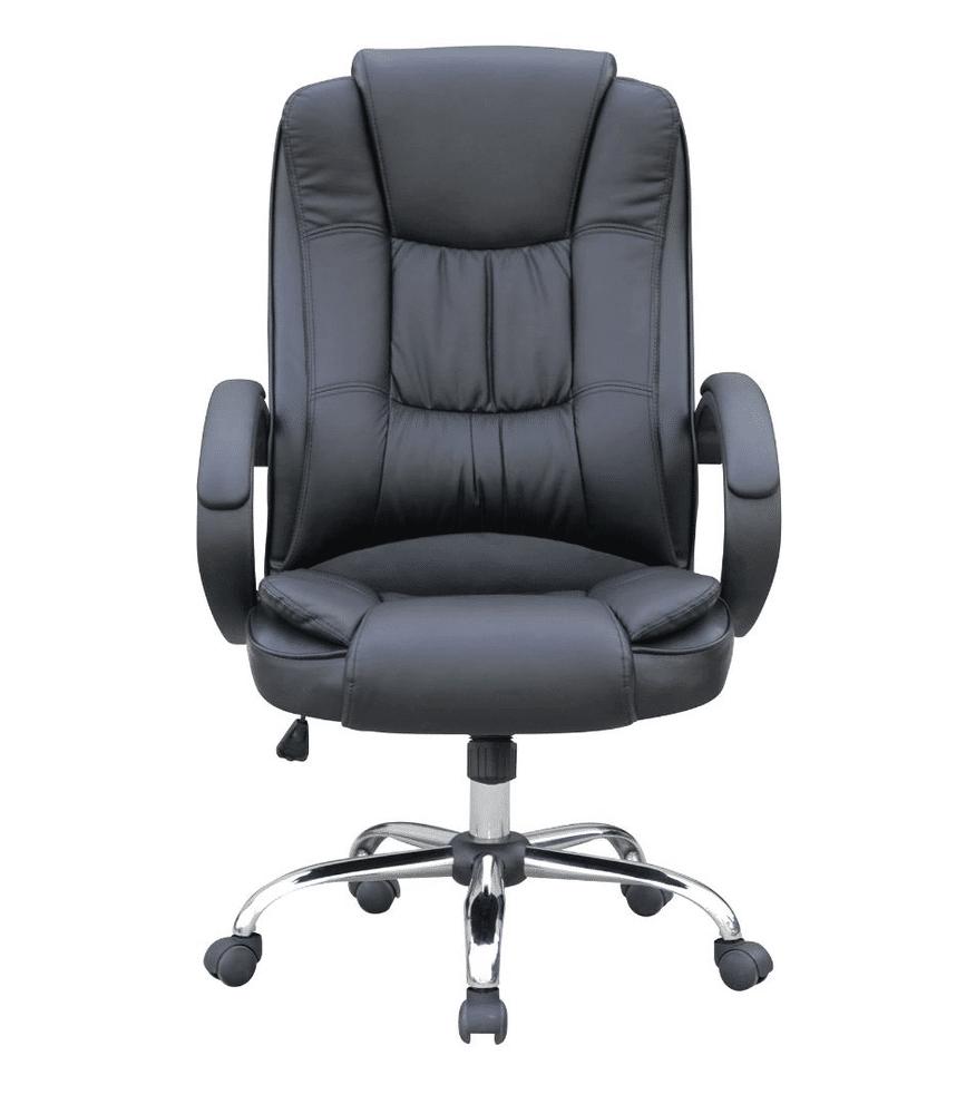 cadeira de escritório preta de couro