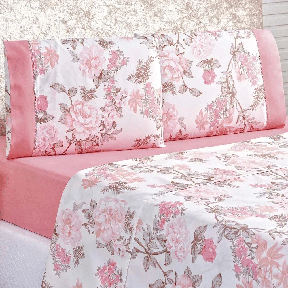 jogo de cama rosa