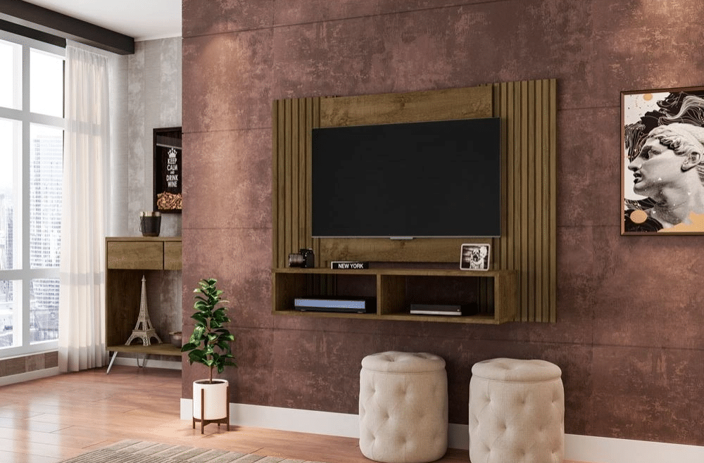 painel de tv marrom