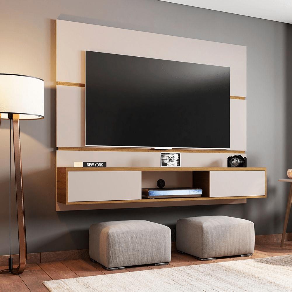 painel de tv com rack branco