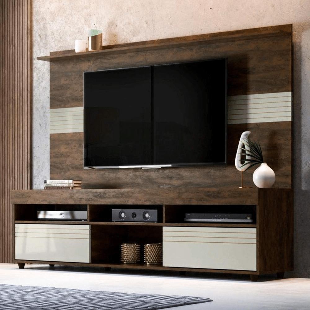painel de tv com rack marrom
