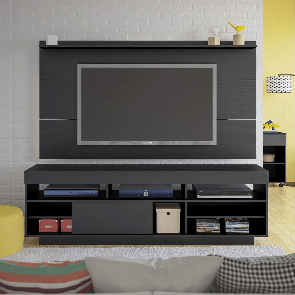 painel de tv com rack preto