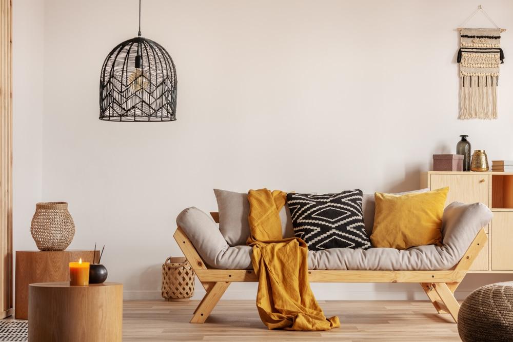 almofadas na decoração da sala de estar