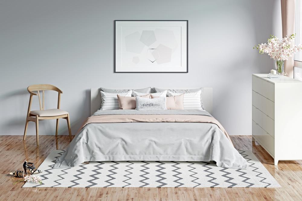decoração com tapete no quarto