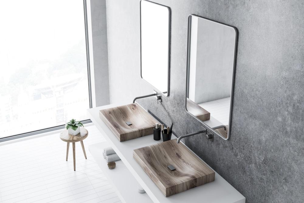 efeito de cimento queimado no banheiro