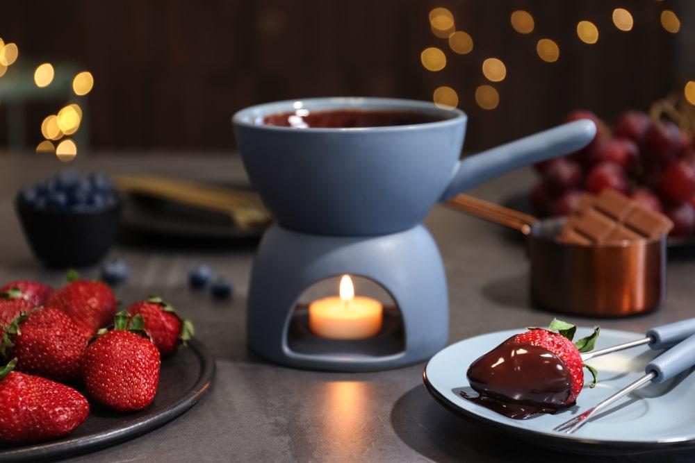 panela de fondue de chocolate