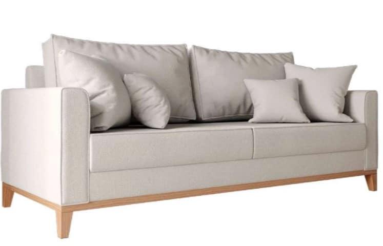 sofá bege de linho de 3 lugares