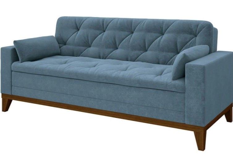 sofá confortável azul de 4 lugares