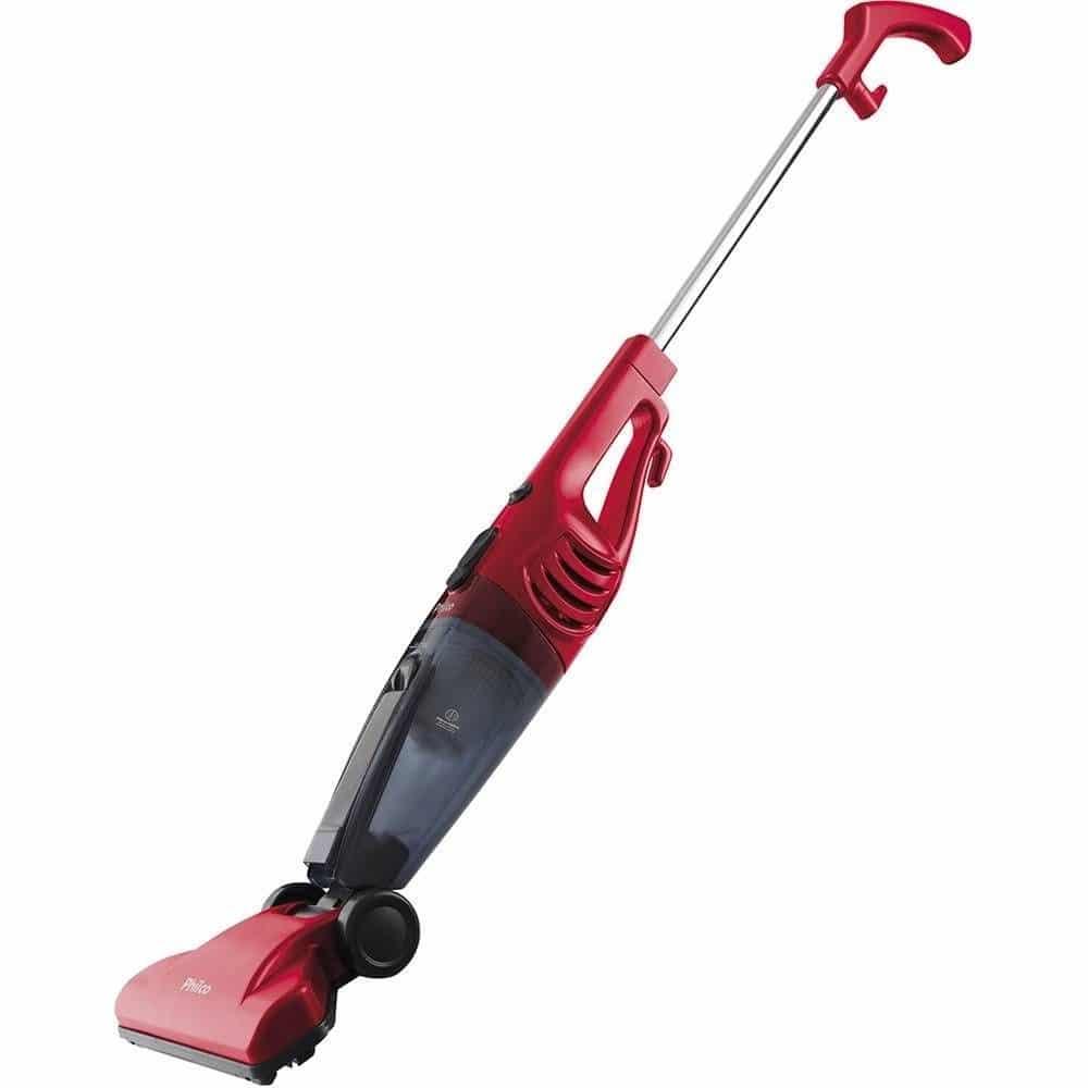 Um aspirador de pó vertical vermelho. Vá para o seite e veja as ofertas